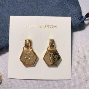 Tory Burch Logo Hex Solid Gold Earrings